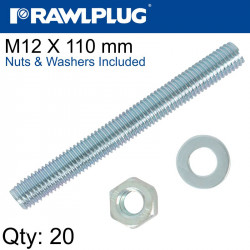 STUD M 12 X 110 X20 PER BOX WITH NUTS AND WASHERS