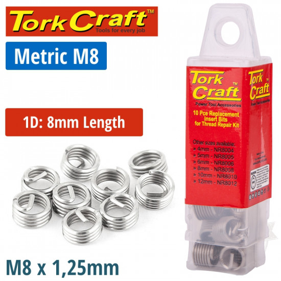 THREAD REPAIR KIT M8 X 1D REPLACEMENT INSERTS 10PCE